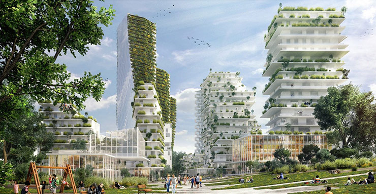 Nature is at the core of the Paris-Charenton project, Reinventing Paris Metropol competition (Source: A2M Architects)