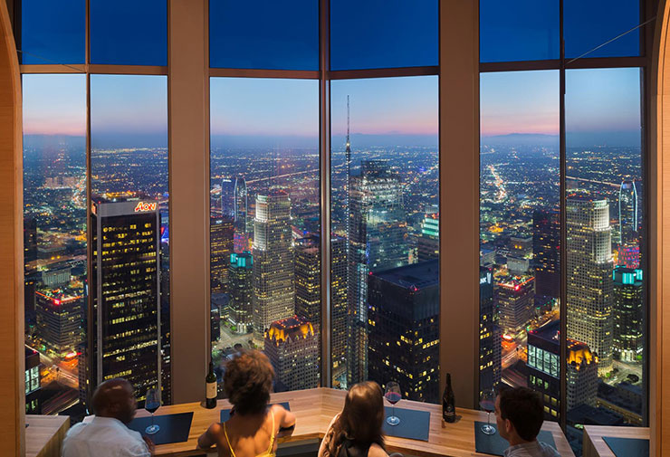 Dynamic glazing is used to control the daylight and heat entering through the windows, while preserving the views of the Los Angeles skyline from restaurant 71 Above.