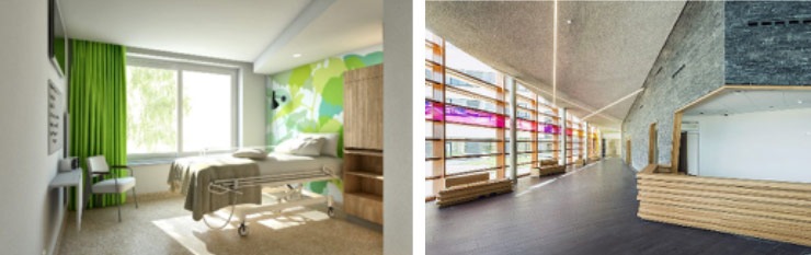 Private and public spaces offering natural light and views of nature at Maas en Kempen Hospital,