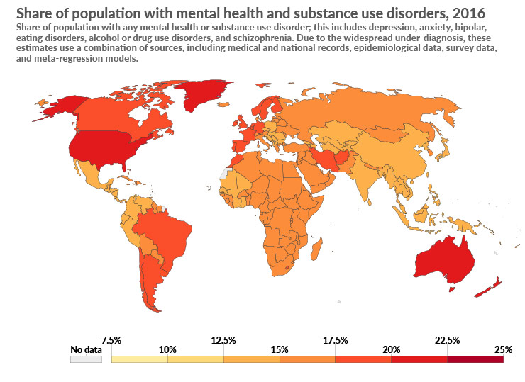 Global map of population affected by mental health issues in 2016 (source: ourworldindata.org)