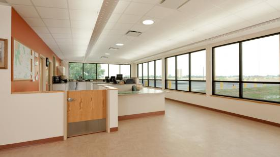 SageGlass Electrochromic Glass interior clear state at Wyoming Department of Transportation, Torrington (USA)